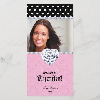 Thank You Dots Lace Heart Diamonds Sweet 16