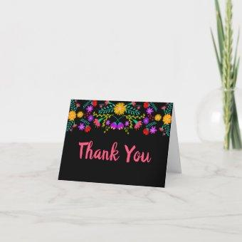 Thank You Mexican Fiesta Flowers Black Folded