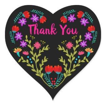 Thank You Mexican Fiesta Flowers Black Heart Sticker