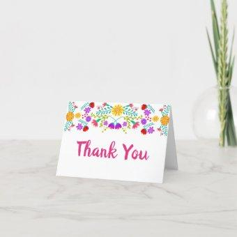 Thank You Mexican Fiesta Flowers White Folded