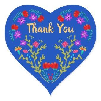 Thank You Mexican Fiesta Royal Blue Heart Sticker