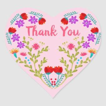 Thank You Mexican Flowers Pink Party Heart Sticker
