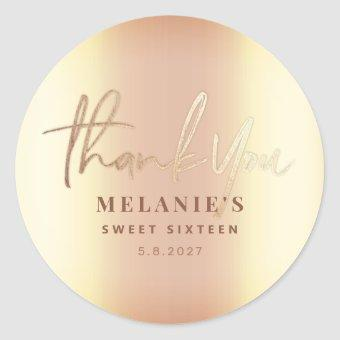 Thank You Personalized 16th Bridal Elegant Gold Classic Round Sticker
