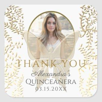 Thank You, Photo Gold Square Sticker