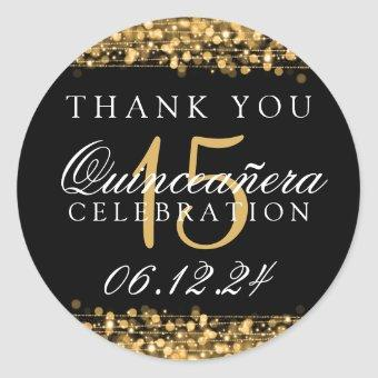Thank You Birthday Party Sparkles Gold Classic Round Sticker