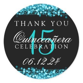 Thank You Birthday Party Sparkles Turq Classic Round Sticker