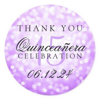 Thank You Birthday Purple Bokeh Lights Classic Round Sticker