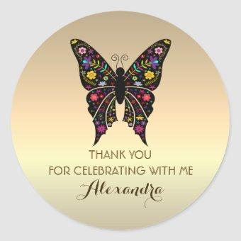 Thank You, Colorful Butterfly Gold Classic Round Sticker