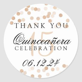 Thank You Copper Foil Glitter Lights Classic Round Sticker