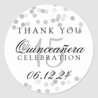 Thank You Silver Foil Glitter Lights Classic Round Sticker