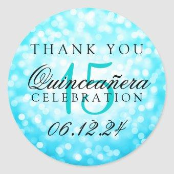 Thank You Turquoise Bokeh Lights Classic Round Sticker