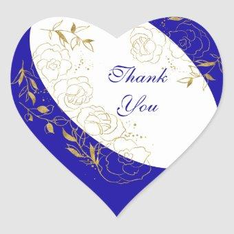 Thank You Royal Blue and Gold Floral Line Art Heart Sticker