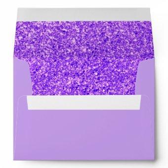 Trendy Elegant Faux Glitter Purple Gold Envelope