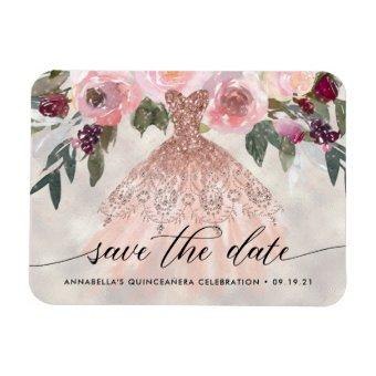 Trendy Floral Photo Quinceañera Save The Date Magnet