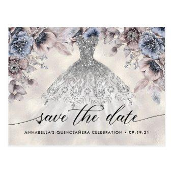 Trendy Floral Photo Quinceañera Save The Date Post