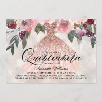 Trendy Floral Rose Gold Gown Quinceañera