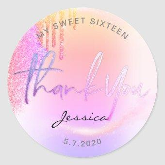 Trendy Glitter Holographic drips Thank you Classic Round Sticker