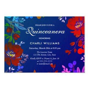 Tropical Colorful Blue Red Invite