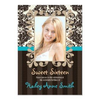 Turquoise and Brown Vintage Damask Sweet Sixteen