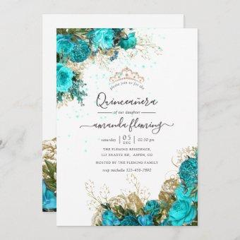 Turquoise and Gold Vintage Floral Quinceañera