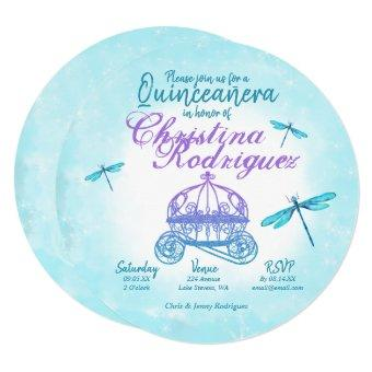 Turquoise and Purple Dragonflies Quinceañera
