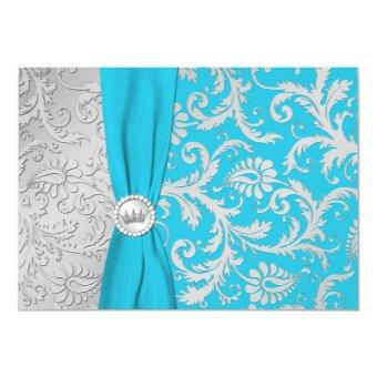 Turquoise and Silver Damask