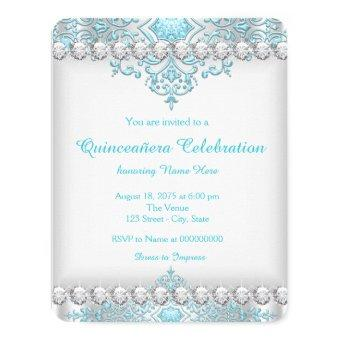 Turquoise Blue and Silver Diamond Quinceañera