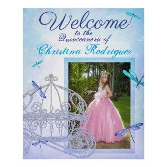 Turquoise & Blue Quinceañera Welcome Sign