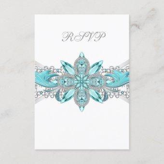 Turquoise Blue Silver RSVP