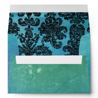 Turquoise Damask Envelopes