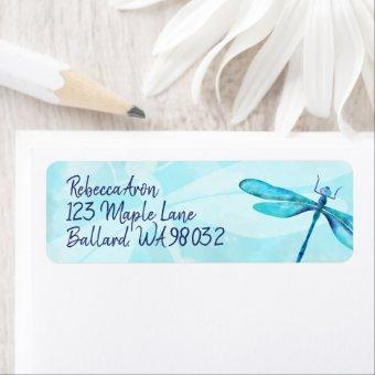 Turquoise Dragonfly Return Address Label
