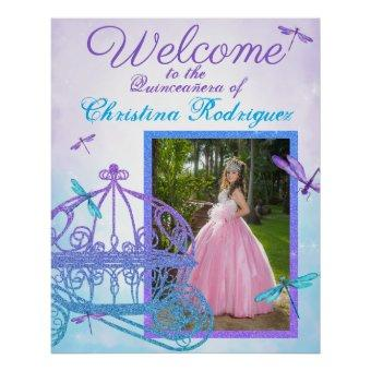 Turquoise & Purple Quinceañera Welcome Sign