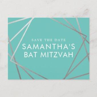 Turquoise Robin Egg Blue Bat Mitzvah Save the Date Announcement Post