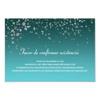 Turquoise Silver Mis Quince Anos Spanish RSVP card