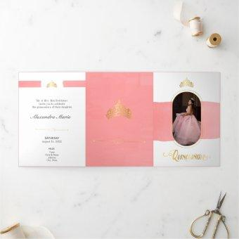Two Photo Gold and Rose Pink Tri-Fold