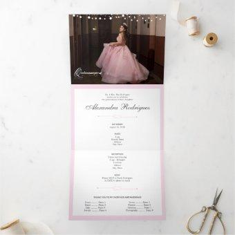 Two Photo Pink Silhouette with Moon Tri-Fold