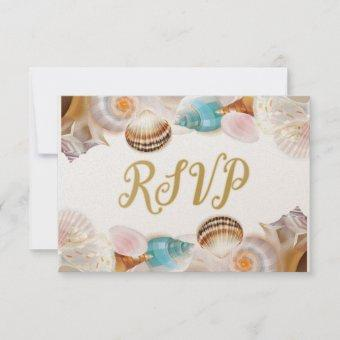 Under the Sea Quinceanera Party Seashells Border RSVP Card