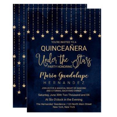 Under the Stars Navy Blue Gold Sparkle Quinceañera