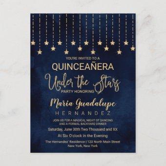 Under the Stars Navy Blue Gold Sparkle Quinceañera Post