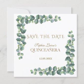 Unique Eucalyptus Foliage Gold Quinceañera Save The Date