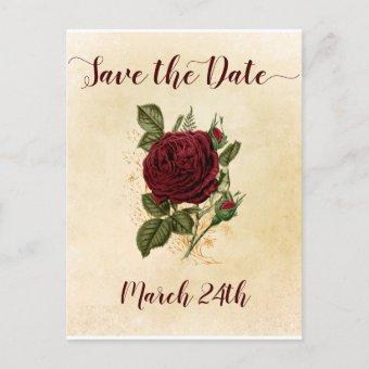 Vintage Champagne Burgundy Red Rose Save the Date Announcement Post
