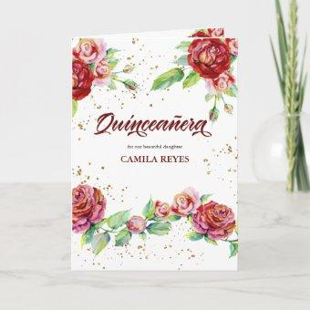 Vintage Floral Roses Red Pink and Gold