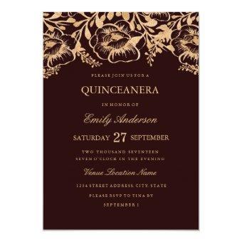 Vintage Gold Burgundy Floral Invite