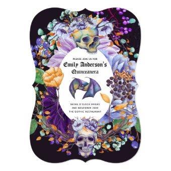 Vintage Goth Skulls Purple Orange Floral 15th Bday