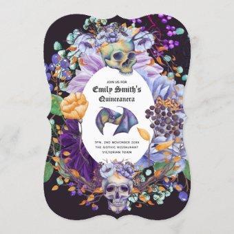 Vintage Gothic Purple Oranage Skulls