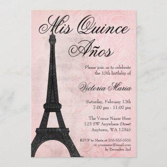 Vintage Paris Pink Black Sweet 15