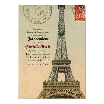 Vintage Paris 15 Birthday Invite