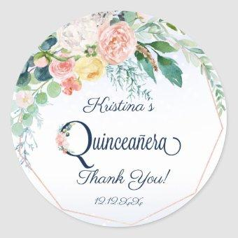 Vintage Pink Floral Thank You Classic Round Sticker