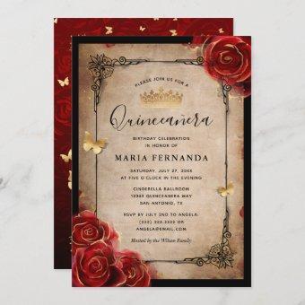 Vintage Red Rose Black Gold Elegant