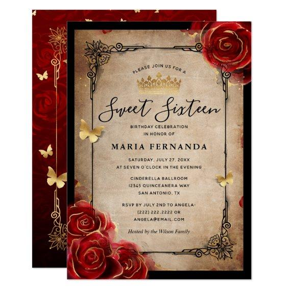 Vintage Red Rose Gold Black Elegant Sweet 16